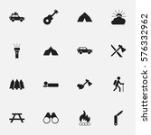 set of 16 editable travel icons.... | Shutterstock . vector #576332962