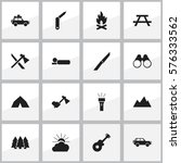 set of 16 editable trip icons.... | Shutterstock . vector #576333562