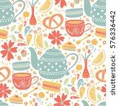 "vector seamless pattern ""tea... | Shutterstock .eps vector #576336442"
