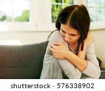 depressed young woman. | Shutterstock . vector #576338902
