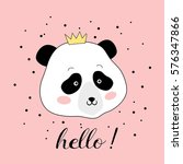 panda head with a crown  vector ... | Shutterstock .eps vector #576347866