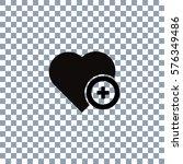 heart icon vector on... | Shutterstock .eps vector #576349486