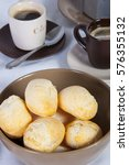 Small photo of Close-up of a plate full of cassava bread accompanied with coffee