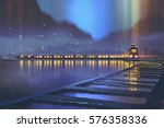 night scene of train with... | Shutterstock . vector #576358336