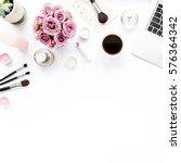 office table desk. laptop ... | Shutterstock . vector #576364342