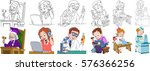 cartoon working people set.... | Shutterstock .eps vector #576366256