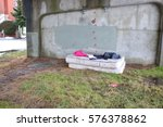 A Homeless Person Has Set Up A...