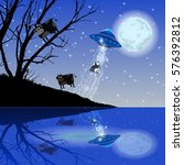 cow abduction ufo night moon.... | Shutterstock .eps vector #576392812