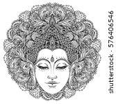 buddha face over ornate mandala ... | Shutterstock .eps vector #576406546