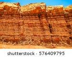 geologic wrinkle on red rocks... | Shutterstock . vector #576409795