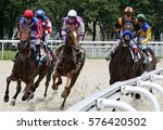 Stock photo horse race for the traditional prize anilina in pyatigorsk the largest in russia 576420502