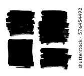 Set of black paint, ink, grunge, dirty brush strokes. vector illustration