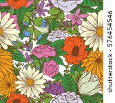 vector seamless floral pattern... | Shutterstock .eps vector #576454546