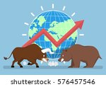 bull and bear with world and... | Shutterstock .eps vector #576457546