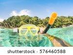 adventurous guy taking photo of ... | Shutterstock . vector #576460588