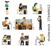 different people work and play... | Shutterstock .eps vector #576468412