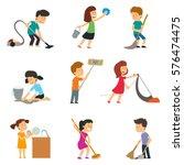 children help their parents... | Shutterstock .eps vector #576474475