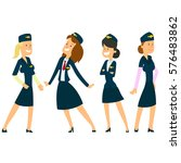 four beautiful stewardesses in... | Shutterstock .eps vector #576483862
