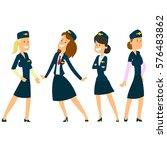 four beautiful stewardesses in... | Shutterstock .eps vector #576483862