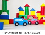 two wooden cars in the wooden... | Shutterstock . vector #576486106