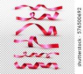 set of red satin ribbon... | Shutterstock .eps vector #576500692