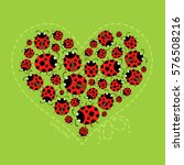 Ladybugs Forming Heart Shape...