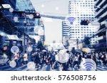 modern cityscape and wireless... | Shutterstock . vector #576508756