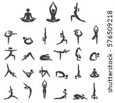 yoga woman poses icons set.... | Shutterstock .eps vector #576509218