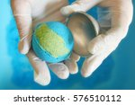 blue bath bomb  beauty products ... | Shutterstock . vector #576510112