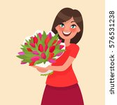 Happy Girl Holding A Bouquet Of ...