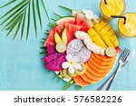 tropical fruits assortment on a ... | Shutterstock . vector #576582226