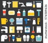 big set of bathroom item and... | Shutterstock .eps vector #576589636