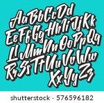 handwritten lettering font.... | Shutterstock .eps vector #576596182