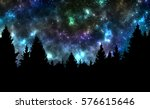 night sky with stars and trees | Shutterstock . vector #576615646