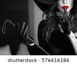 sexy dominant woman in hat and... | Shutterstock . vector #576616186