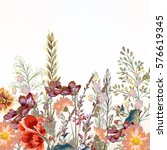 Floral Illustration With Field...