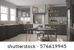 Stock photo scandinavian classic gray kitchen with wooden details minimalistic interior design d illustration 576619945