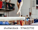 young girl athlete gymnast on... | Shutterstock . vector #576622732