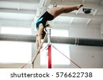 girl athlete gymnast exercises... | Shutterstock . vector #576622738