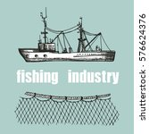 Fishing Trawler And Nets Vecto...