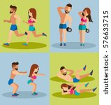 couple running and weight...   Shutterstock .eps vector #576633715