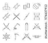 Ninja Tools Icons Set. Outline...
