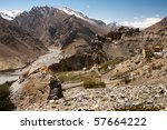 Dhankar cliff monastery landscape in Spiti Valley amongst the Himalayan mountains. - stock photo