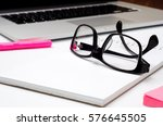 office items are on a table ... | Shutterstock . vector #576645505
