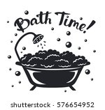vintage bathtub with bubbles... | Shutterstock .eps vector #576654952