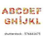 childish funny vector flowers... | Shutterstock .eps vector #576661675