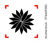 flower sign. black icon in...