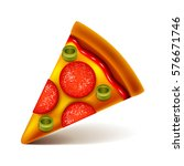 pepperoni pizza slice isolated... | Shutterstock .eps vector #576671746