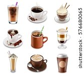 coffee drinks icons detailed... | Shutterstock .eps vector #576680065