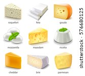cheese types icons detailed... | Shutterstock .eps vector #576680125